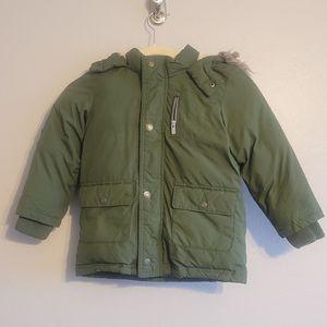 Old Navy Green Parka Jacket Coat with Fur Hood 5T